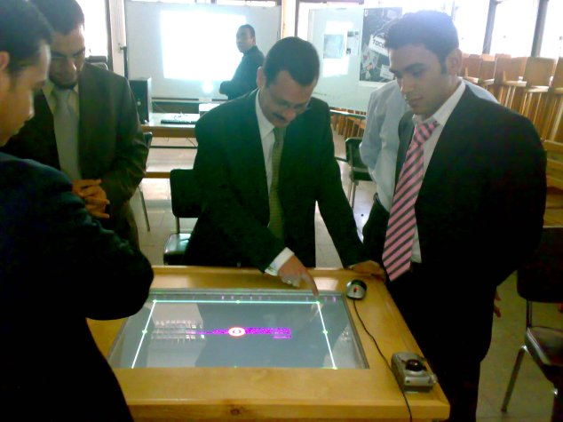 Dr. Ahmed Darwish testing the touch table.